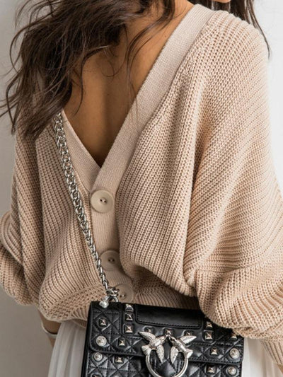 Loose Fit Button Down Sweaters