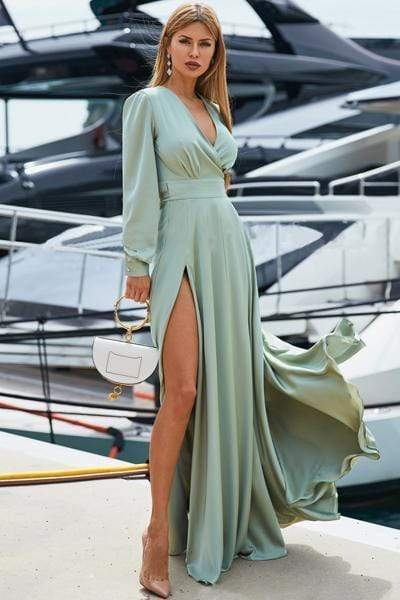 wiccous.com Maxi Dress Mint / S Solid V-Neck Maxi Dress