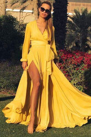 wiccous.com Maxi Dress Yellow / S Solid V-Neck Maxi Dress