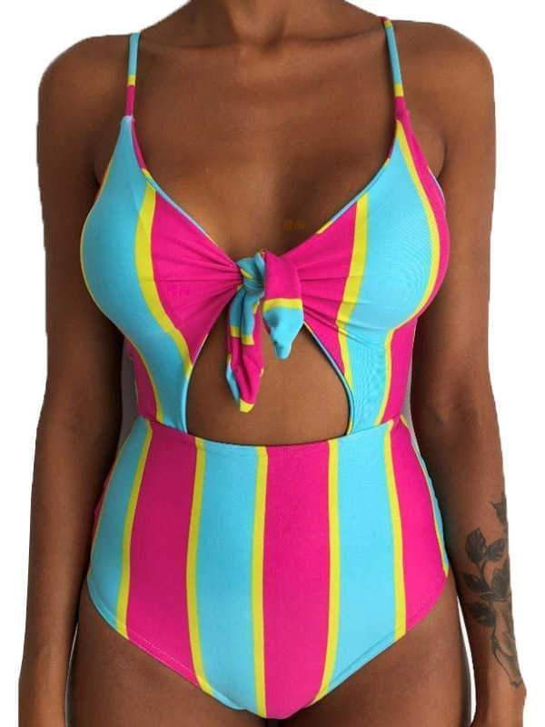 wiccous.com One-Piece iris / S Knotted Printed One-Piece Swimsuit On The Chest