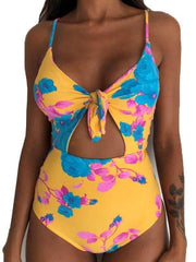 wiccous.com One-Piece Yellow / S Knotted Printed One-Piece Swimsuit On The Chest