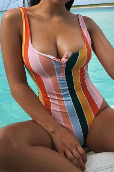 wiccous.com One-Piece Iris / S Rainbow Striped One Piece Swimsuit