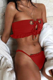 wiccous.com Swimwear Red / S Sexy Metal Ring Buckle Swimsuit