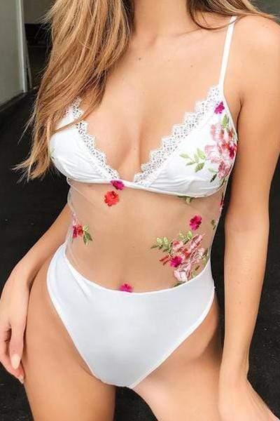 wiccous.com One-Piece White / S Rose Embroidered Mesh Panel One Piece Swimsuit