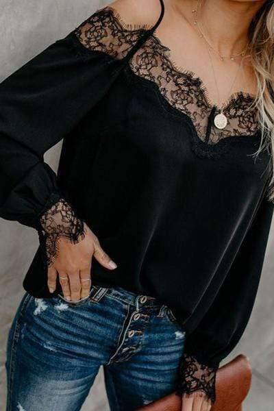 wiccous.com Tops Black / S Simple Sexy Lace Stitching Strap Shirt