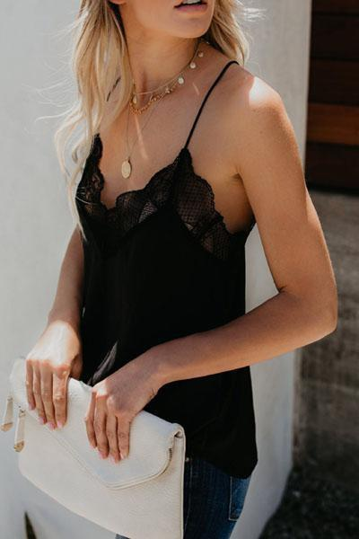 wiccous.com Tops Black / S Solid Lace Stitching Vest Halter Top