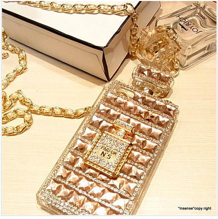 For iPhone Xs Max Case Xr X 8 Plus 7 6 6s 5 5s 5c SE Women Perfume Cover Super Cute Girly Crossbody Chain Strap Bling Diamond