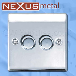 BG NPC82P Nexus Metal 2 Gang Dimmer Polished Chrome