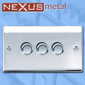BG NPC83P Nexus Metal 3 Gang Dimmer Polished Chrome