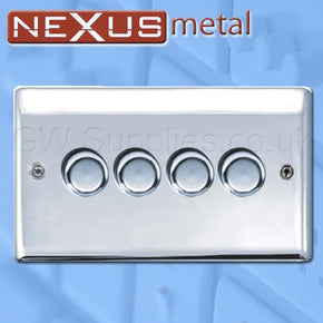 BG NPC84P Nexus Metal 4 Gang Dimmer Polished Chrome