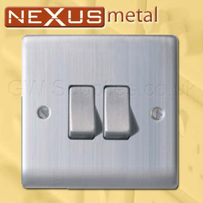 BG NBS42 Nexus Metal 2 Gang Switch Brushed Steel