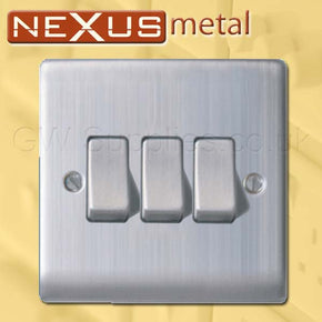 BG NBS43 Nexus Metal 3 Gang Switch Brushed Steel