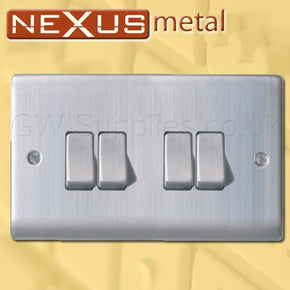 BG NBS44 Nexus Metal 4 Gang Switch Brushed Steel