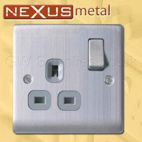 BG NBS21G Nexus Metal Switched Socket Outlet 1 Gang Brushed Steel