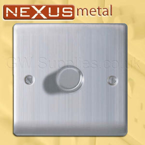 BG NBS81P Nexus Metal 1 Gang Dimmer Brushed Steel
