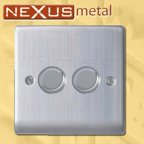 BG NBS82P Nexus Metal2 Gang Dimmer Brushed Steel