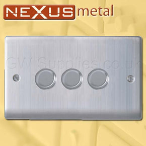 BG NBS83P Nexus Metal 3 Gang Dimmer Brushed Steel