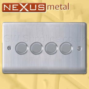 BG NBS84P Nexus Metal 4 Gang Dimmer Brushed Steel