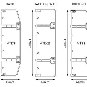 Marco Dado/Skirting Trunking 170mm x 50mm 3mtr Length (All shapes)