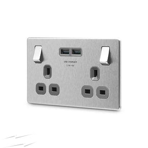 BG FBS22U3G Brushed Steel Screwless Flatplate Double Switched 13A Socket With 2 X USB Sockets (3.1A)