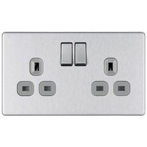 BG FBS22G Brushed Steel Screwless Flatplate 2 Gang Switched Socket 13A