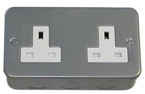 BG MC524 Metalclad 2 Gang Unswitched Socket 13A
