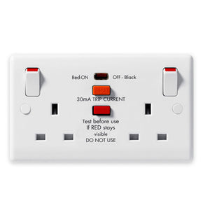 BG 822RCD Nexus White Moulded Double Switched Socket, with RCD Protection 13A