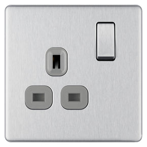 BG FBS21G-01 Brushed Steel Screwless Flatplate 1 Gang Switched 13A Socket