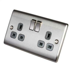 BG NBS22G Nexus Brushed Steel 2 Gang Switched Socket