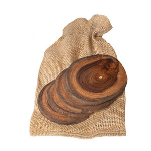 Teak Wood Coasters - 4 pack