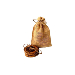 teak wood coaster in burlap bag