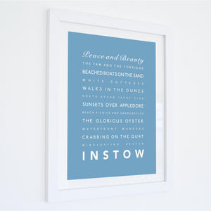 Instow Typographic Travel Print- Coastal Wall Art /Poster