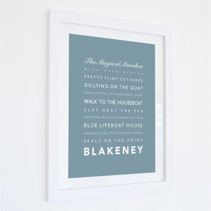 Blakeney Typographic Travel Print- Coastal Wall Art /Poster