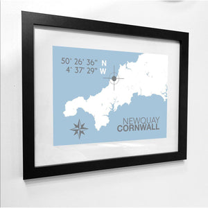 Newquay Nautical Map Print - Coastal Wall Art /Poster