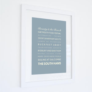 South Hams Typographic Seaside Print - Coastal Wall Art /Poster