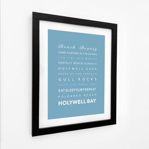 Holywell Bay Typographic Travel Print - Coastal Wall Art /Poster