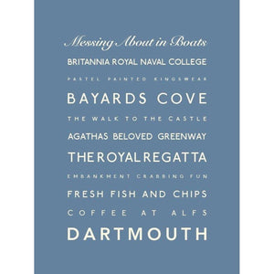 Dartmouth Typographic Travel Print- Coastal Wall Art /Poster