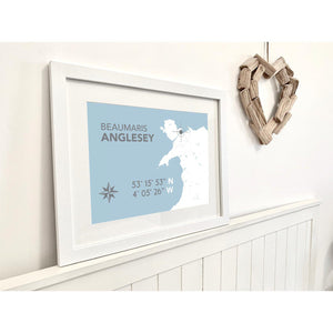 Beaumaris Nautical Map Seaside Print - Coastal Wall Art /Poster