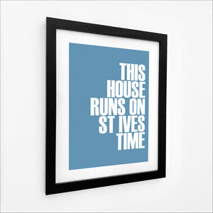 St Ives Time Typographic Travel Print- Coastal Wall Art /Poster