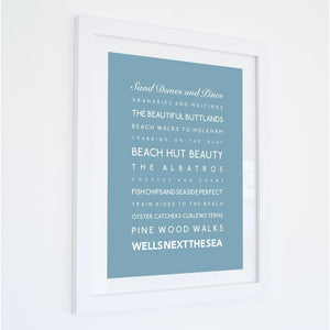 Wells Next the Sea Typographic Travel Print- Coastal Wall Art /Poster