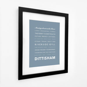 Dittisham Typographic Seaside Print - Coastal Wall Art /Poster
