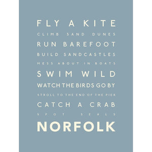 Norfolk Days Typographic Travel Print- Coastal Wall Art /Poster