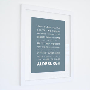 Aldeburgh Typographic Travel Print- Coastal Wall Art /Poster