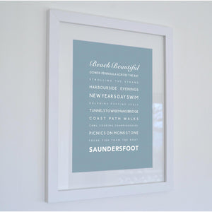 Saundersfoot Typographic Seaside Print - Coastal Wall Art /Poster