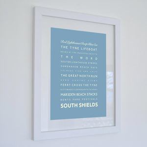 South Shields Typographic Seaside Print - Coastal Wall Art /Poster