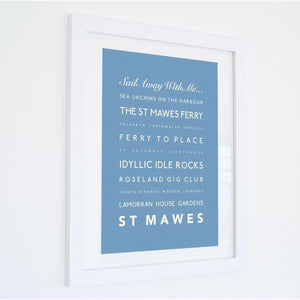 St Mawes Typographic Travel Print- Coastal Wall Art /Poster