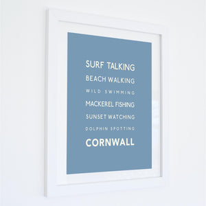 Surf Talking Cornwall Typographic Travel Print- Coastal Wall Art /Poster
