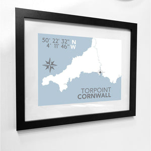 Torpoint Map Travel Print- Coastal Wall Art /Poster