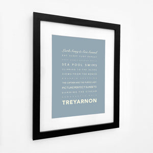 Treyarnon Bay Typographic Travel Print- Coastal Wall Art /Poster