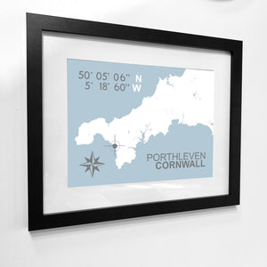 Porthleven Nautical Map Print - Coastal Wall Art /Poster